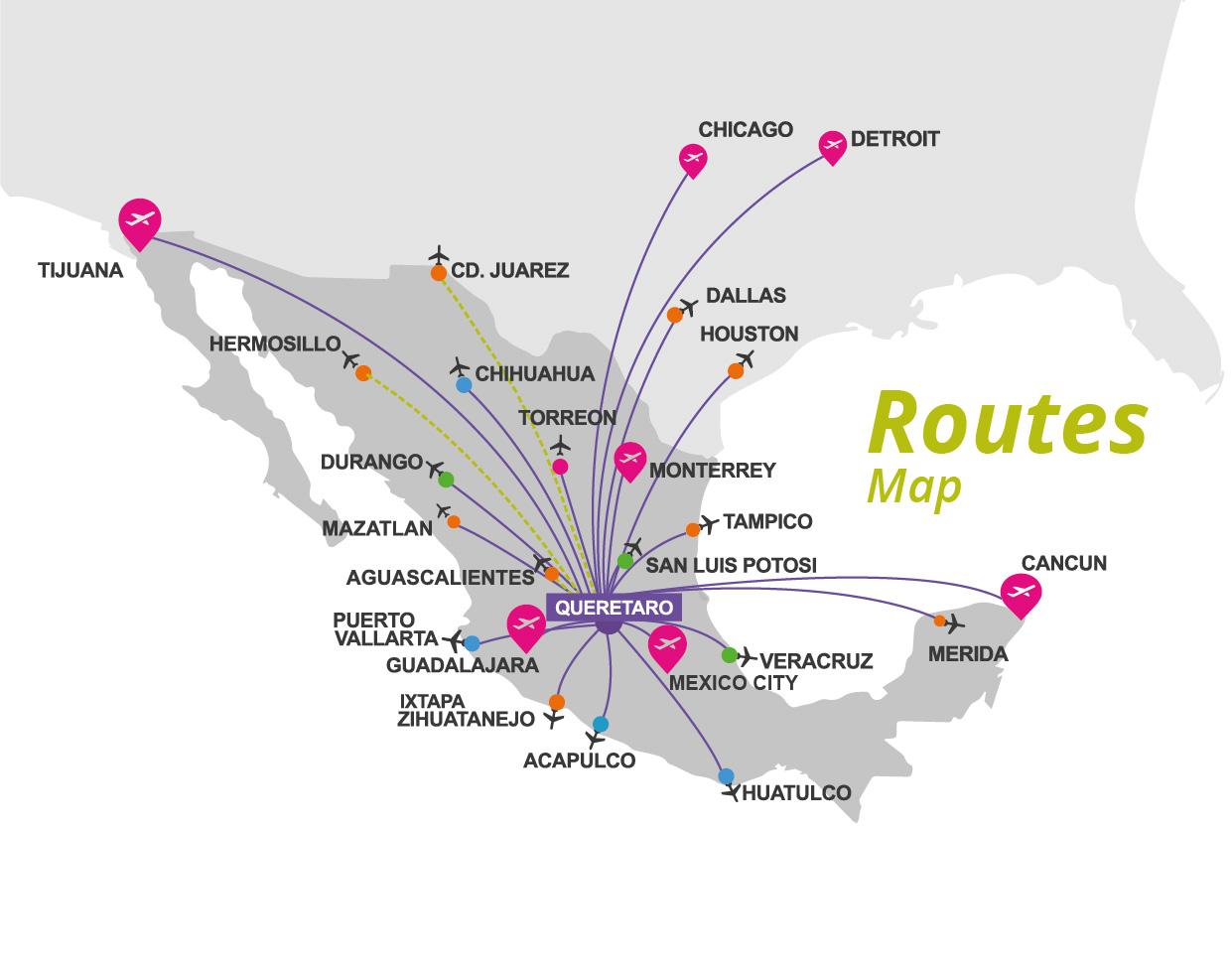 Queretaro Airport Map AIQ | Aeropuerto Intercontinental de Querétaro